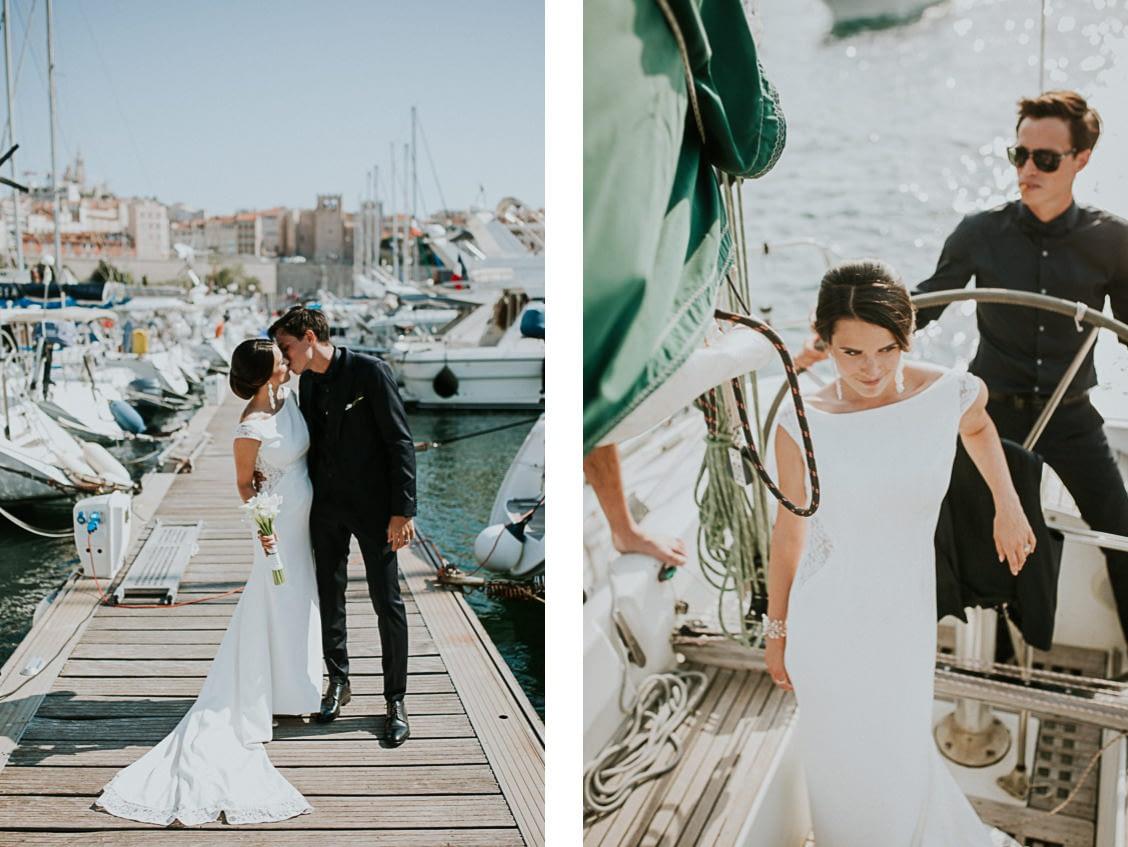 séance couple mariage voilier vieux port marseille