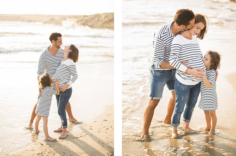 Une séance photo de famille et grossesse en bord de mer